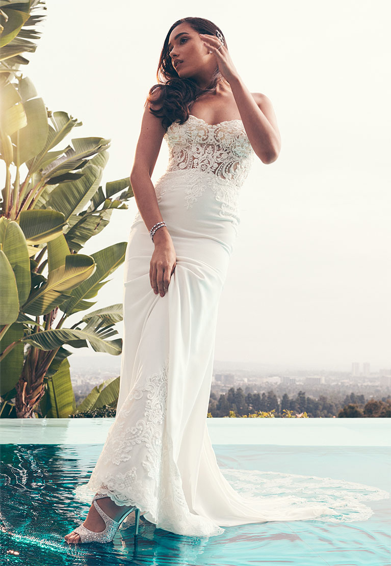 Bride wearing high neck Galina Signature wedding dress