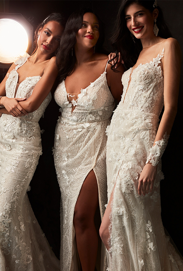 brides wearing body contouring silhouettes from galina signature.