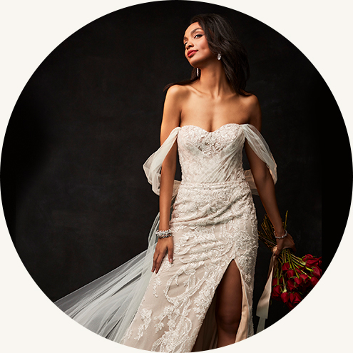 bride wearing off the shoulder galina signature wedding dress.