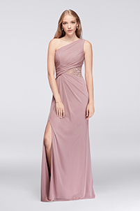 Rose Gold Metallic One-Shoulder Mesh Dress with Lace Inset