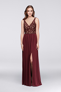 Illusion V-Neck Lace and Mesh Dress in Wine
