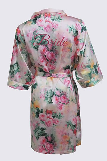 Short floral robe with featuring Bride on the back in fuchsia glitter