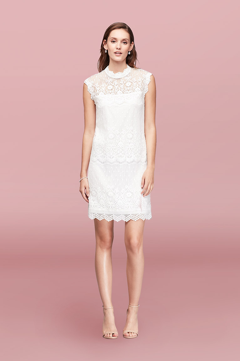 Lace Mix High-Neck Shift Dress