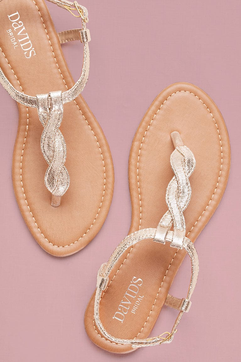Gold metallic flat sandals