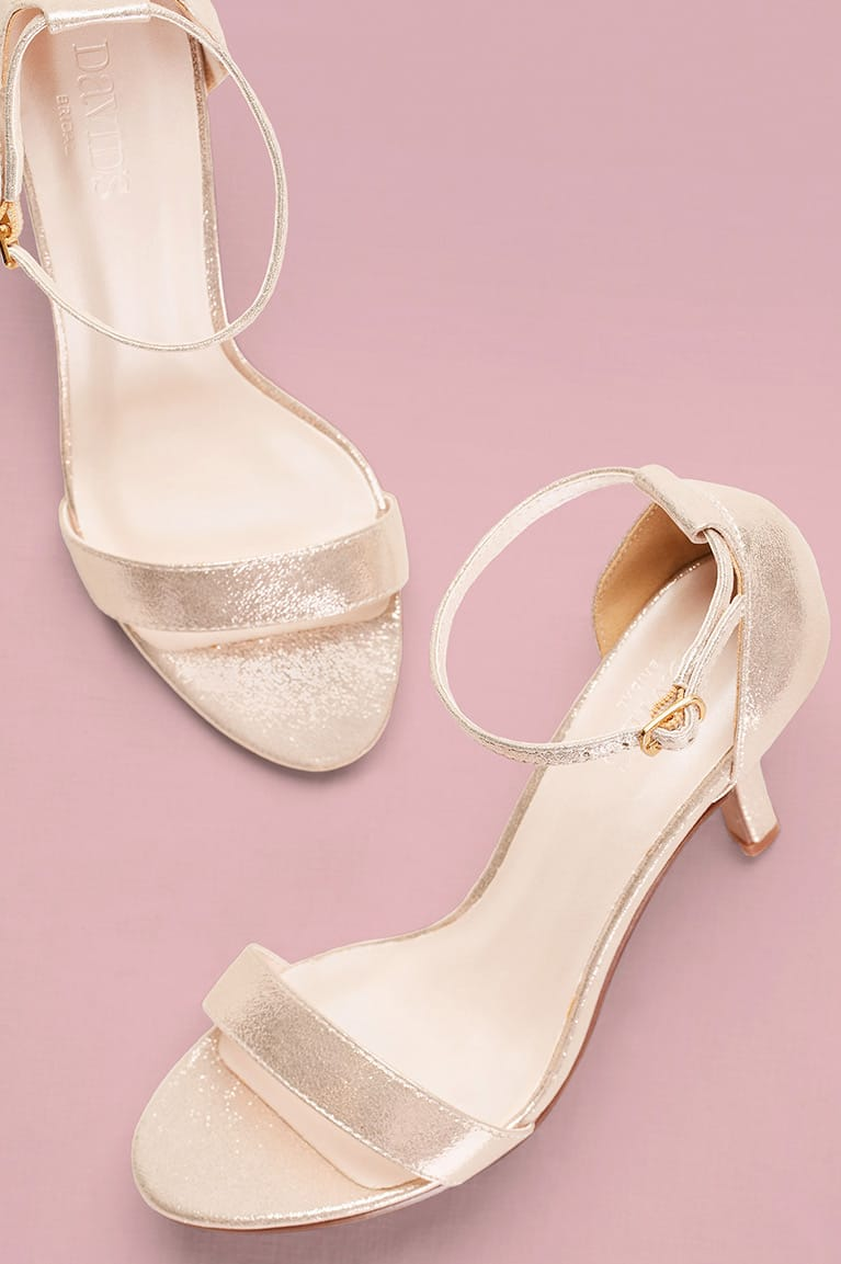 Gold metallic mid-heeled ankle strap sandal